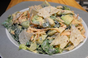 A close up shot of all the yummy and fresh deliciousness of my Chicken Lime Salad with Avocado. :D