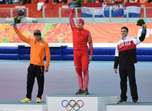 Denny Morrison of Canada wins the bronze during the men' s 1500 m at the 2014 Winter Games in Sochi Russia.