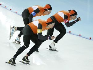 Koen Verweij , left Sven Kramer, middle, and Jan Blokhuijsen of the Netherlands during their gold medal skate in speed skating men`s team pursuit.