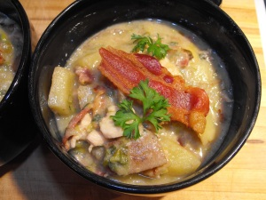 A close up shot of the Chicken & Potato Soup with Bacon... Check out those delicious chunks of yumminess! :D