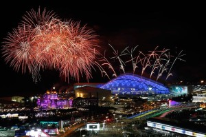 Fireworks go off over the Fisht Olympic Stadium at the start of the Opening Ceremony of the Sochi 2014 Olympic Games at the Fisht Olympic Stadium, Sochi, Russia, 07 February 2014.