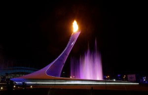 The Olympic Cauldron is lit during the opening ceremony of the 2014 Winter Olympics in Sochi, Russia, Friday, Feb. 7, 2014.