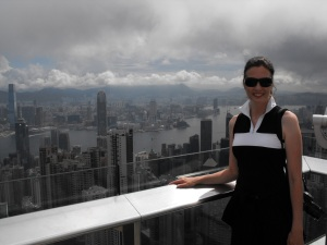 From the Peak! With Hong Kong and Kowloon behind me.. Fabulous!! :)