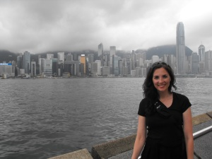 When we first arrived in Hong Kong..  Standing on the Kowloon side, with Hong Kong behind me.