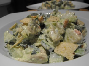 Close up of the delicious Chicken, Lime and Avocado Salad. Yummy!