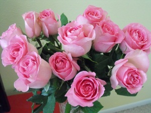 A close up of these beautiful bright pink roses. :)