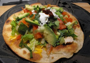 Chicken Tostada with Green Salsa & Chipotle.