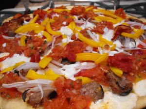 A close up shot of the yummy Trattorian pizza!