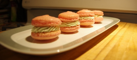 Valentines macarons - basil buttercream